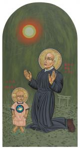 Holy Father Pedro Arrupe, SJ in Hiroshima with the Christ Child